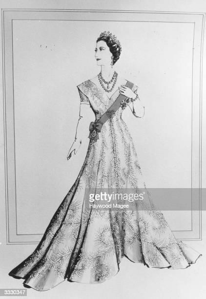 Norman Hartnell's design for Queen Elizabeth The Queen Mother's dress for the Coronation ceremony of her daughter Queen Elizabeth II Original...
