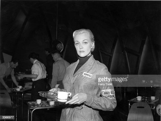 American screen actress Jan Sterling in character as Julia on the set at Elstree during the filming of George Orwell's famous novel '1984' The film...