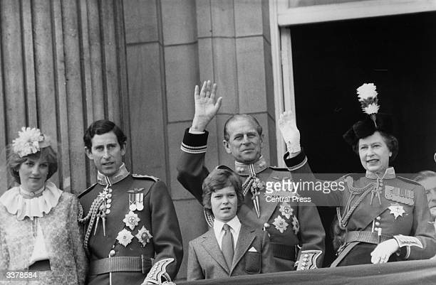 Lady Diana Spencer Prince Charles the Duke of Edinburgh and Queen Elizabeth II on the balcony of Buckingham Palace in London after the Trooping the...