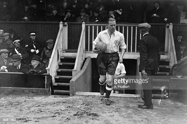 Amateur International England v Scotland at Dulwich Hamlet FC ground Champion Hill London England team captain Bernard Joy leading his team out