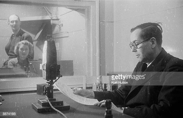 BBC DirectorGeneral Sir Cecil Graves listening in to a live studio production Original Publication Picture Post 1332 The Two Directors General Of The...