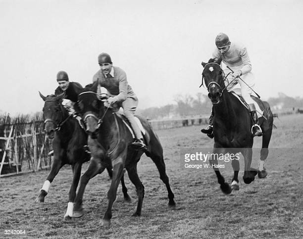 Grantham takes royal steed Monaveen for a training run at Hurst Park. On the right is Lord Mildmay on J'Accourir and left is Taylor on Rhetorius....
