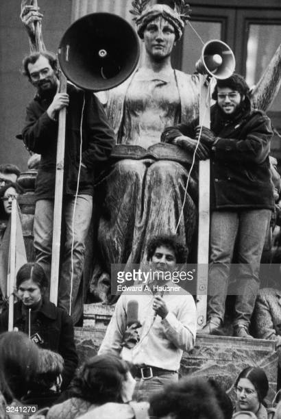 American activist Abby Hoffman cofounder of the Yippie movement speaks to a crowd at a demonstration in favor of the Black Panthers at Columbia...