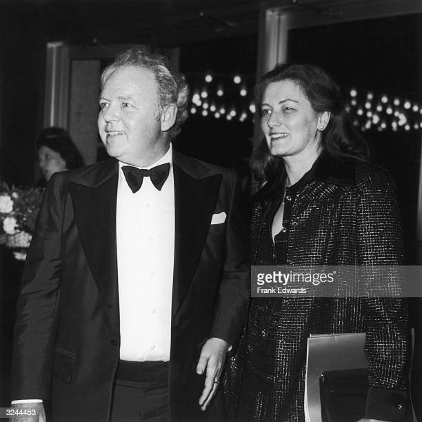 American actor Carroll O'Connor and his wife Nancy Fields smile as they attend the American Film Institute's presentation of a Life Achievement Award...