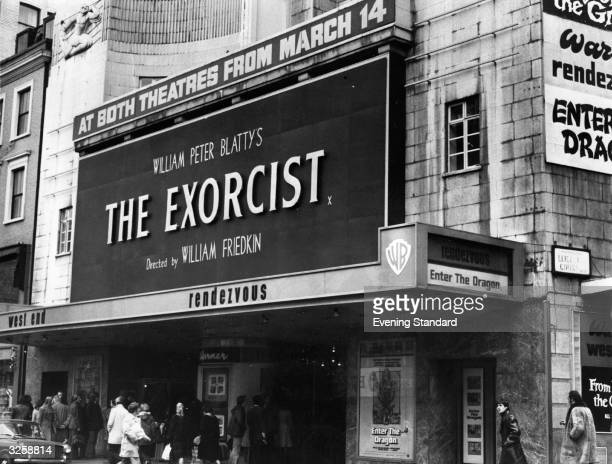 The exterior of the Leicester Square Warner cinema in London which is showing 'The Exorcist'
