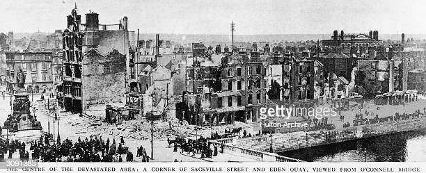The bombed buildings at the corner of Sackville street and Eden Quay on the banks of the Liffey in Dublin The buildings were shelled by the British...