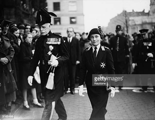 Princess Alice, the Duchess of Gloucester, with Sir John Duncan, the Chief Commissioner of St John's Ambulance, after inspecting a St John's...