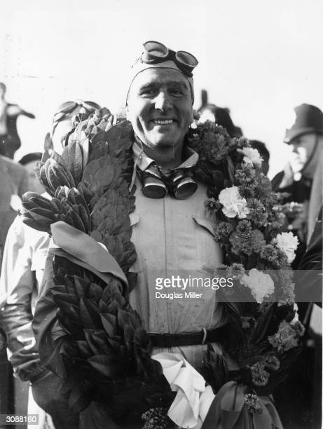 Racing driver, Dr Giuseppe Farina after he had won the European Grand Prix at Silverstone.