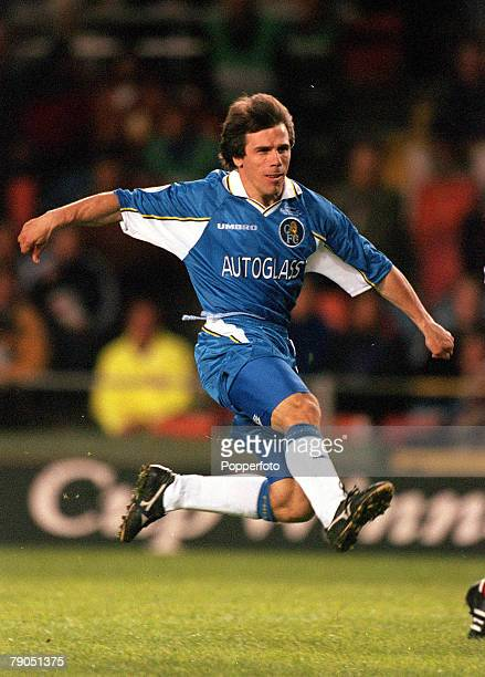 13th MAY 1998, UEFA Cup Winners Cup Final, Stockholm, Sweden, Chelsea 1 v Stuttgart 0, Chelsea's Gianfranco Zola fires home the only goal of the game...