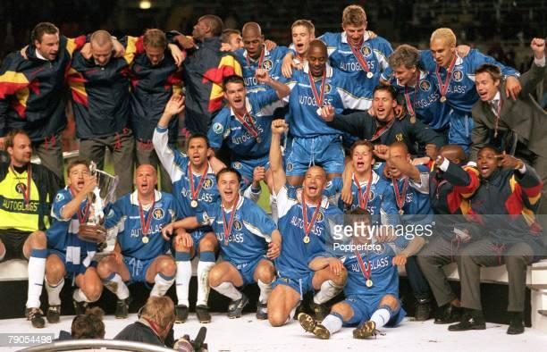 13th MAY 1998 UEFA European Cup Winners Cup Final Stockholm Sweden Chelsea 1 v Stuttgart 0 The Chelsea team celebrate after they won the European Cup...