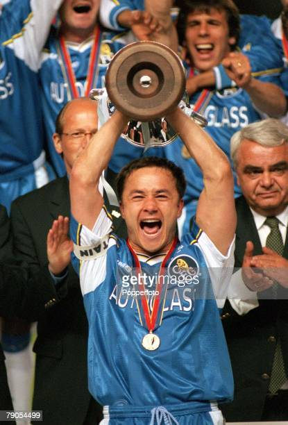 13th MAY 1998 UEFA European Cup Winners Cup Final Stockholm Sweden Chelsea 1 v Stuttgart 0 Chelsea captain Dennis Wise holds aloft the European Cup...