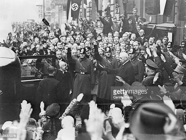 Paul von Hindenburg the 2nd president of the Weimar Republic leaves the polling station after voting in the German General Election Adolf Hitler had...
