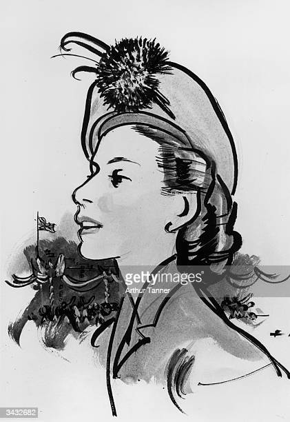 Drawing by Norman Hartnell of Princess Elizabeth's going away hat.