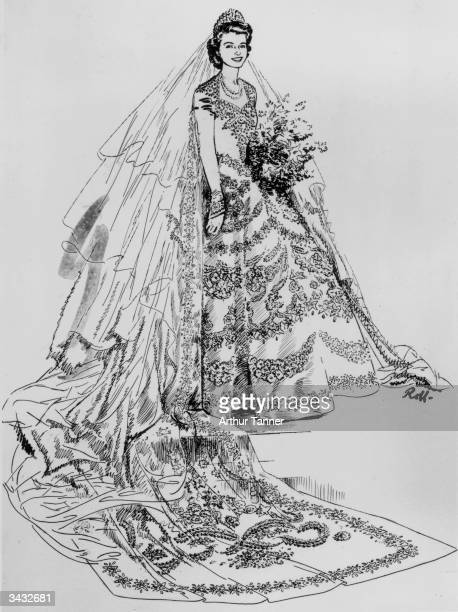 A drawing of Princess Elizabeth's wedding dress