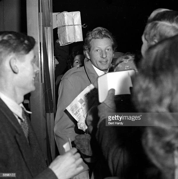 American entertainer Danny Kaye surrounded by autograph hunters Original Publication Picture Post 4681 The Simple Magic Of Danny Kaye pub 1948