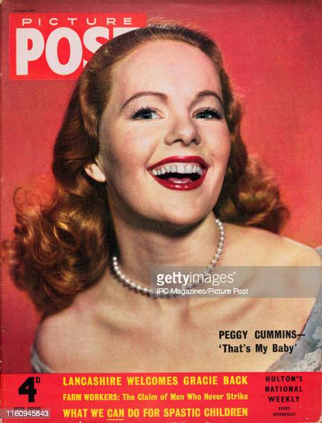 Irish actress Peggy Cummins is featured for the cover of Picture Post magazine Original Publication Picture Post Cover Vol 65 No 07 pub 1954