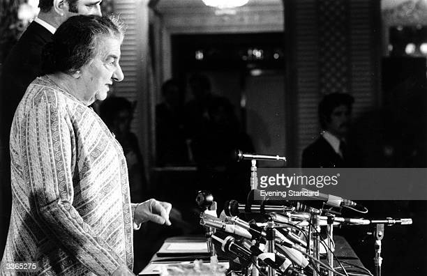 Israeli prime minister Golda Meir at her Churchill Hotel press conference