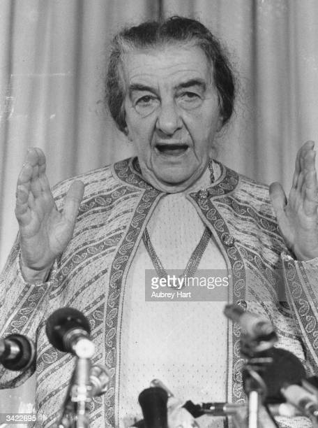 Russianborn Israeli prime minister Golda Meir at her Churchill Hotel press conference