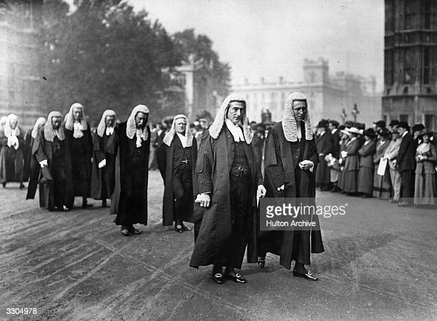 The English lawyer and statesman Rufus Daniel Isaacs appointed Lord chief justice in 1913 leads the procession of King's Counsels with Sir John Simon...