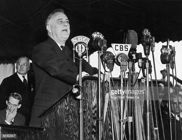 32nd United States President Franklin Delano Roosevelt delivers a speech in Chicago Illinois October 13 1937