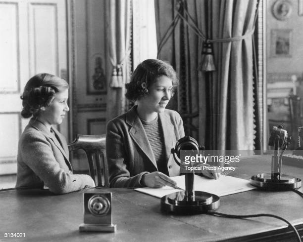 Princess Elizabeth makes her first broadcast accompanied by her younger sister Princess Margaret Rose