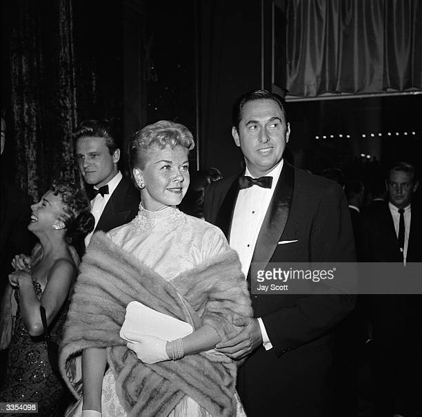 American actress Doris Day with husband Marty Melcher at the film premiere of 'A Star Is Born' featuring Judy Garland