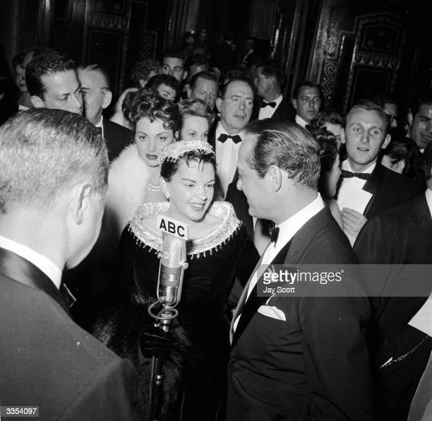 Award winning American actress Judy Garland at the premiere for her film 'A Star Is Born'.