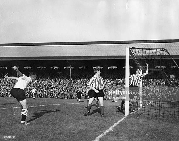 Fulham FC v Grimsby Town FC at Craven Cottage London Stevens heads the ball into the net to score Fulhams second goal