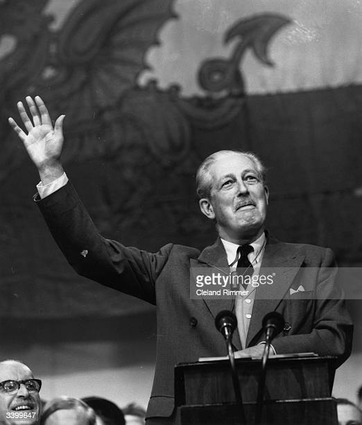 British prime minister Sir Harold Macmillan, 1st Earl of Stockton, making a speech at the Conservative Party Conference at Llandudno.