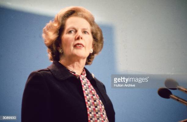 British Conservative prime minister Margaret Hilda Thatcher addressing the Tory Party Conference in Brighton following the bombing of The Grand Hotel...