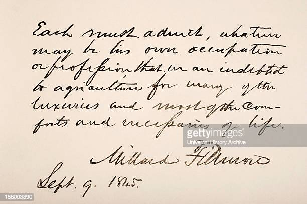 13Th President Of The United States Of America Hand Writing Sample