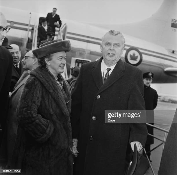 13th Prime Minister of canada John Diefenbaker with his wife Olive Diefenbaker at Heathrow Airport, London, UK, 23rd February 1963.