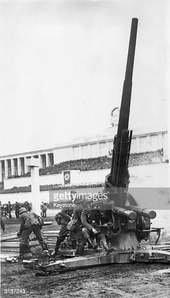 German troops man an antiaircraft gun in the Zeppelin Field Arena on the last day of the Nuremberg Congress