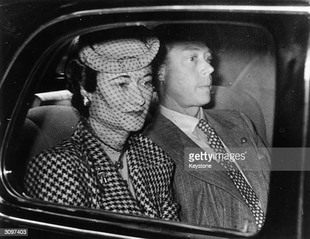 The Duke and Duchess of Windsor arriving at the country home of Major Edward Dudley Metcalfe in Coleman's Hatch Sussex their first visit to England...