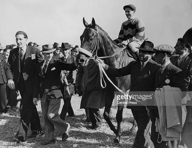 The Maharajah of Baroda leading in his horse, 'Sayajirao' after it had won the St Leger at Doncaster.