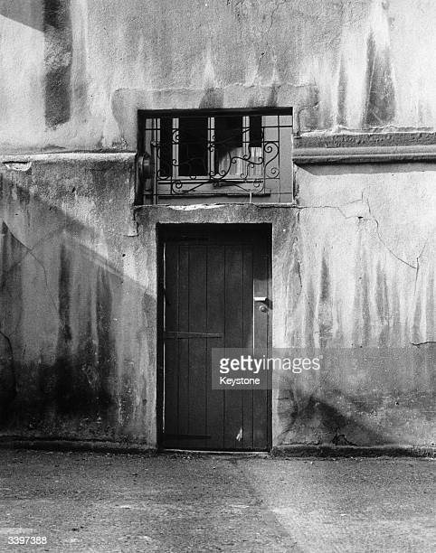 The back door of the home owned by British peer Lord Lucan before his disappearance in Belgravia Central London
