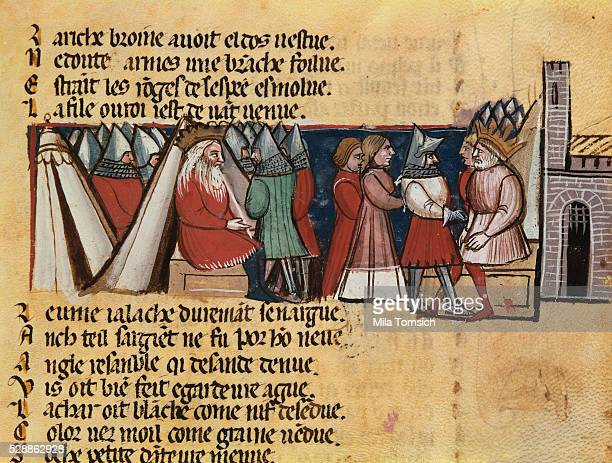13thCentury Venetian Manuscript Page Depicting Charlemagne His Daughter and Roland the Paladin