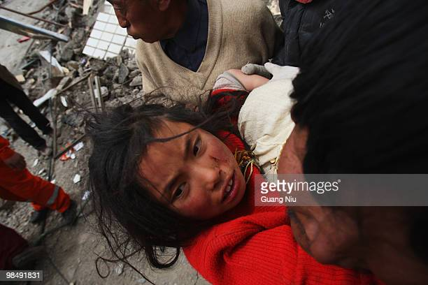 Year old girl is rescued from the rubble following a strong earthquake, on April 16 in Jiegu, near Golmud, China. It is currently reported that 791...