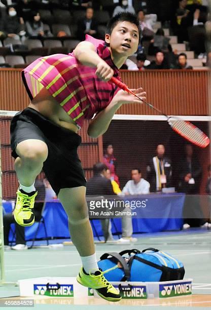 13yearold Kodai Naraoka competes in the Men's Singles game against Takuro Hoki during the All Japan Badminton Championships at Yoyogi Gymnasium on...