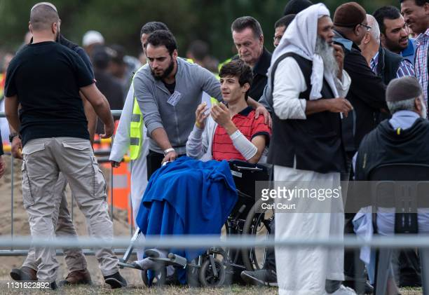13yearold Zaid Mustafa whose father and brother were killed in the Christchurch terrorist attack attends a funeral at Memorial Park Cemetery on March...