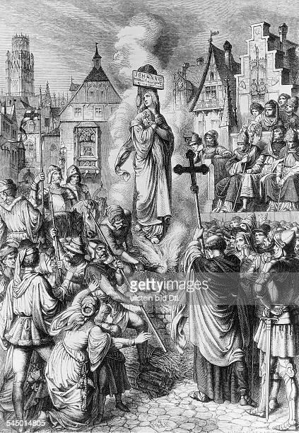 *1410/1230051431Nationalheldin Frankreichauf dem Scheiterhaufen in Rouenam 3051431Stich nach Zeichnung von Eduard v Luttich