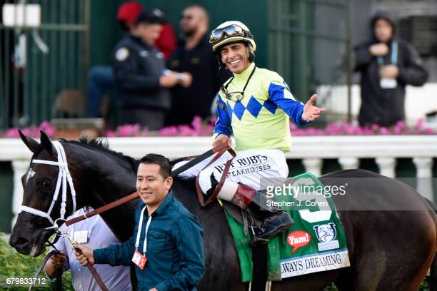 143rd Kentucky Derby winner Always Dreaming with Jockey John Velazquez at Churchill Downs on May 6 2017 in Louisville Kentucky