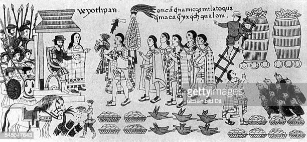 *14851547Conquistador Eroberer Mexicos E wird in Tlaxcala gastlich empfangen r neben Cortez seine Konkubine und Dolmetscherin Dona Marina Zeichnung...