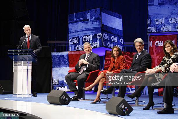 14888_162jpg_Anderson Cooper at the podium with John King Gloria Rodriguez Mulloy John Roberts and Campbell Brown at the CNN Election Breakfast 2007...