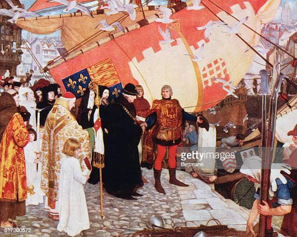 The departure of John and Sebastian Cabot from Bristol on their first voyage of discovery in 1497 From the picture by Ernest Board in the Bristol Art...