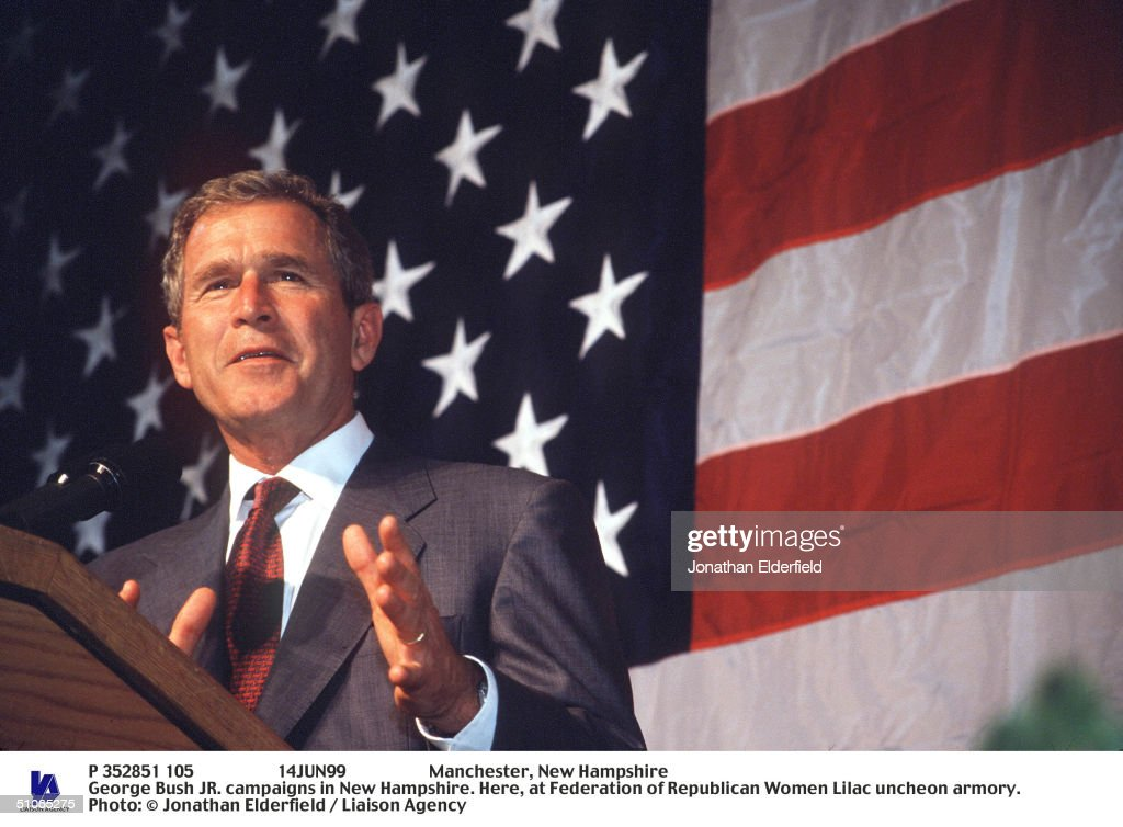 Manchester New Hampshire George Bush Jr Campaigns In New Hampshire Here At : News Photo
