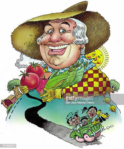 14p x 17p Jim Hummel color illustration of large happy farmer holding produce behind an image of a happy family driving to the market