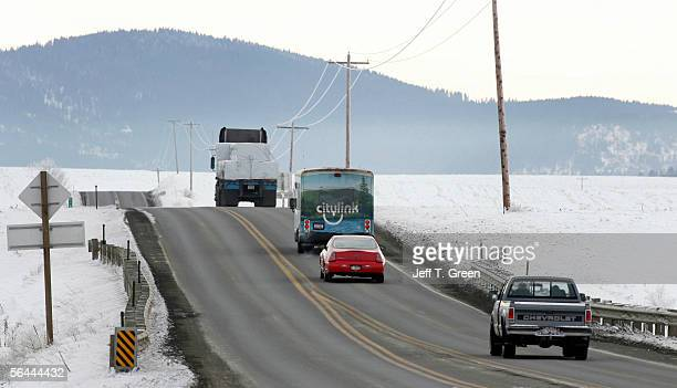 A 14passenger Citylink bus travels down Highway 95 on the Coeur d' Alene Indian Reservation December 15 2005 north of Tensed Idaho Citylink is the...
