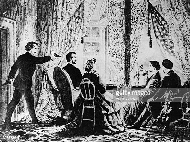 The assassination of the 16th President of the United States Abraham Lincoln by actor John Wilkes Booth at Ford's Theatre Washington DC