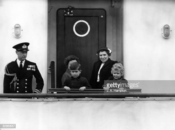 Prince Charles and Princess Anne with their nanny on board the Royal yacht Britannia at Portsmouth
